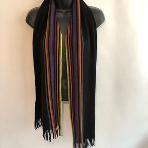 Soft Black Multicolored Lined Scarf